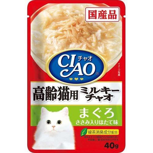 【直送・代引不可・同梱不可】 いなばペットフード ミルキーチャオ 高齢猫用 まぐろ ささみ入り ほたて味(40g)