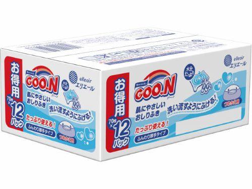 送料無料大王製紙グーンGoon肌にやさしいおしりふきつめかえ用70枚×12パック(計840枚入)(ベ