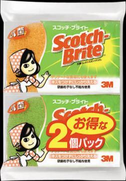 スコッチ・ブライト ソフトスカウアー 抗菌ウレタンスポンジたわし リーフ型3層 グリーン&オレンジ 2個パック