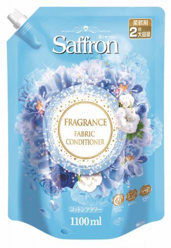 トイレタリージャパン サフロン柔軟剤 コットンフラワーの香り 詰替え 1100ml 香りの柔軟剤 部屋干し対策 ×5個セット