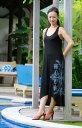 手染めマキシ丈編み込みドレス ハワイアンキルト柄〈ブラック/カーキ〉ハワイアンリゾートワンピースマキシワンピ