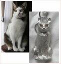 「写真から作る」ペットモデルシルバーバッグチャーム(猫の制作例)