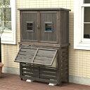 エアコンカバー 木製 フラップルーバー 室外機カバー パラソル ジャンボサイズ 木製収