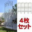 アイアンローズフェンス ハイタイプ 4枚組【送料無料!】アイアンフェンス(アイアン・スチール製ガーデンフェンス)商品型番:ifrose-220-4p