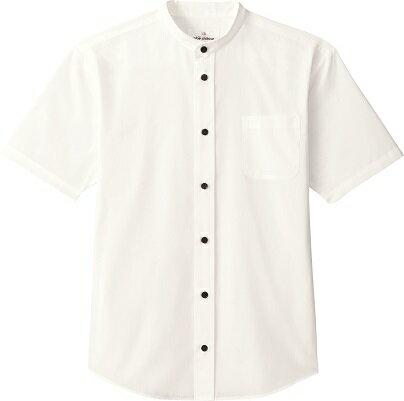 arbe EP-8240 スタンドカラーシャツ 半袖 男女兼用 ホワイト/ブラック接客・レストラン・サービス業・飲食店衣料/制服/ユニフォーム