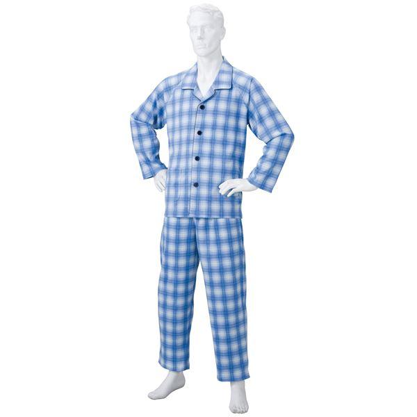 きほんのパジャマ(寝巻き) 【紳士用 L】 綿100% マジックテープ付き ズボン/前開き (介護用品) ブルー(青)