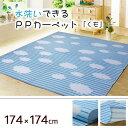 水洗いできる PPカーペット くも 174×174cm ( 日本製 洗える 水拭き 汚れに強い 運動会 レジャーマット アウトドア ) おしゃれ 訳あり ギフト