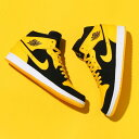 "NIKE AIR JORDAN 1 MID ""New Love""(ナイキ エア ジョーダン 1 ミッド)(BLACK/VARSITY MAIZE-WHITE)17SS-I"