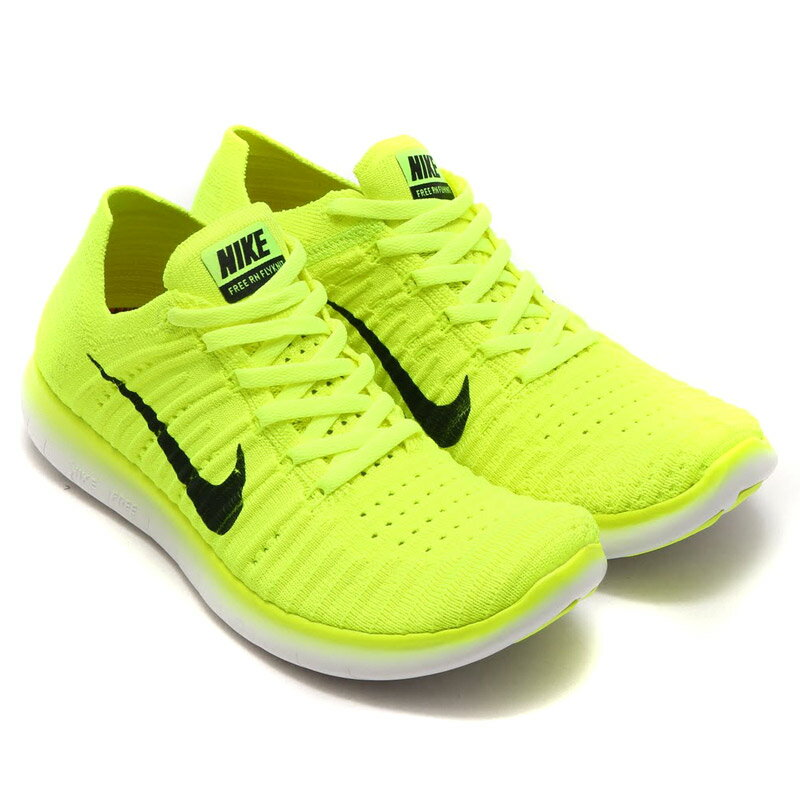 NIKE WMNS FREE RUN FLYKNIT MS VOLT/BLACK-WHITE