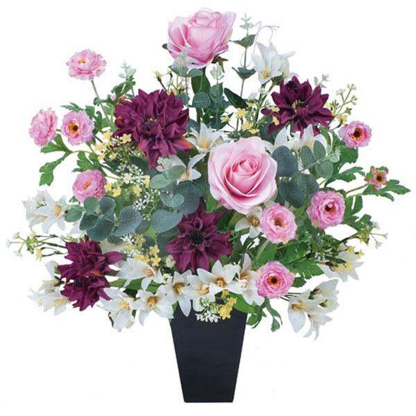 光触媒観葉植物花フラワーアレンジメント人工観葉植物アレンジメンドフラワーフラワー母の日ピンクパープル