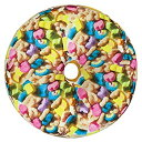 【中古】【輸入品・未使用未開封】(Cereal Sprinkles) - iscream Sugarlicious Frosting Scented Rainbow Sprinkles Donut 41cm Photoreal Microbead Pillow