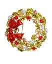 ショッピングクリスマスリース 【中古】【輸入品・未使用未開封】TTjewelry 1.7インチ クリスマスリース 蝶結びブローチ カラフル オーストリア産クリスタル