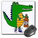 【中古】【輸入品・未使用未開封】3dRose Funny Cool Alligator Drinking Beer Cartoon Art Mouse Pad (mp_263794_1) [並行輸入品]