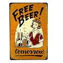 【中古】【輸入品・未使用未開封】dingleiever-Free Beer Tomorrow Bar Pub Garage Man Cave Rustic Metal Tin Sign Yellow Vintage [..