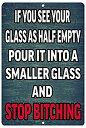 【中古】【輸入品・未使用未開封】Rogue River Tactical Funny Beer Alcohol Sign Metal Tin Sign Home Bar Kitchen Glass Half Empty ..
