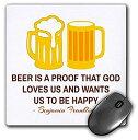 【中古】【輸入品・未使用未開封】3dRose Mouse Pad Benjamin Franklin Quote on Beer is A Proof That God on White - 8 by 8-Inches ..