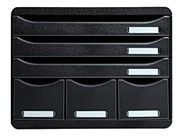 レターケース ビッグボックスプラス 3段+小物ポケット ブラック(エグザコンタ)