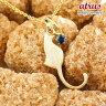 【送料無料】猫 ネックレス ブルーサファイア 一粒 ペンダント イエローゴールドk18 ネコ ねこ 9月誕生石 18金 レディース チェーン 人気