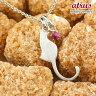 【10%OFF】猫 ネックレス ルビー 一粒 ペンダント ホワイトゴールドk10 ネコ ねこ 7月誕生石 10金 レディース チェーン 人気 クリスマスプレゼント