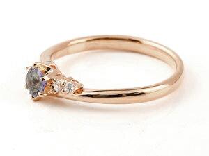 【送料無料】婚約指輪 エンゲージリング  アイオライト ダイヤモンド リング 指輪 一粒 大粒 ピンクゴールドk10 ストレート 10金 レディース ブライダルジュエリー ウエディング 贈り物 誕生日プレゼント ギフト 結婚リング 大粒アイオライトリング 手作り