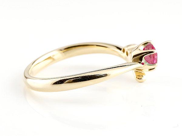 【送料無料】婚約指輪 エンゲージリング ルビー イエローゴールドk18リング ダイヤモンド 指輪 ピンキーリング 一粒 大粒 k18 レディース 7月誕生石 贈り物 誕生日プレゼント ギフト 気品に満ちた華やかさ 誕生石エンゲージリング 手作り