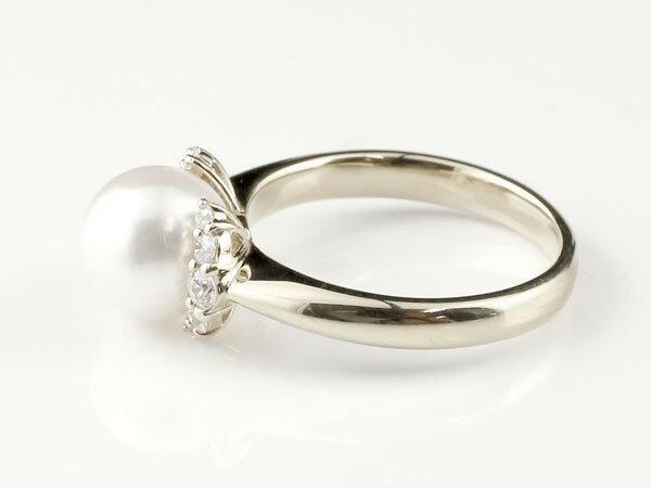 パールリング 真珠 エンゲージリング キュービックジルコニア  婚約指輪 ホワイトゴールドk18 リング 指輪 18金 ストレート 高級感溢れるあこや本真珠リング