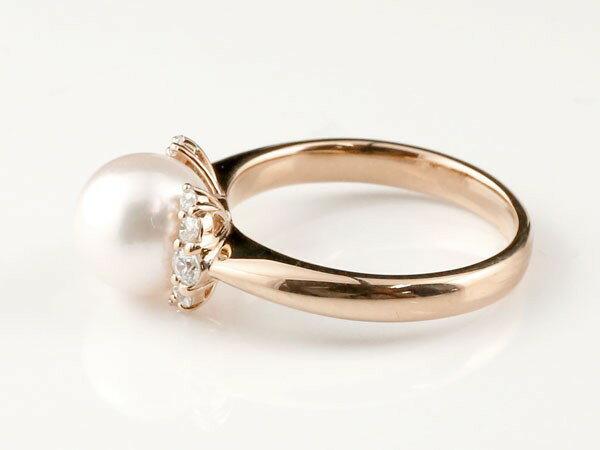 パールリング 真珠 エンゲージリング キュービックジルコニア  婚約指輪 ピンクゴールドk18 リング 指輪 18金 ストレート 高級感溢れるあこや本真珠リング
