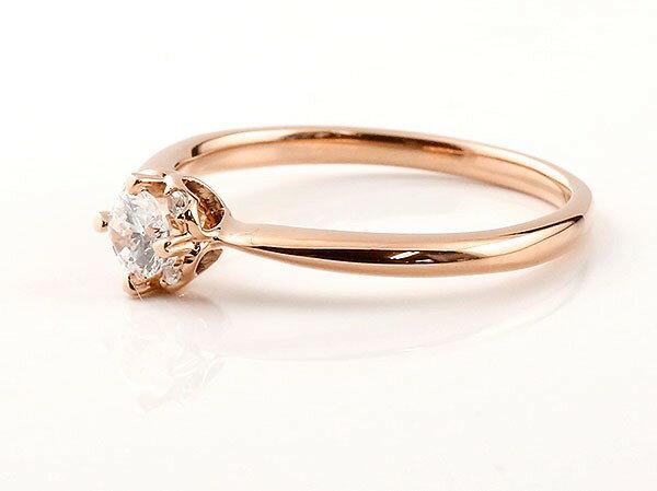 鑑定書付き エンゲージリング VVSクラス ピンクゴールド リング ダイヤモンド ハート 指輪 一粒 大粒 ダイヤ ダイヤモンドリング k18 18金 ロマンティックな光、さりげないハートモチーフがポイント