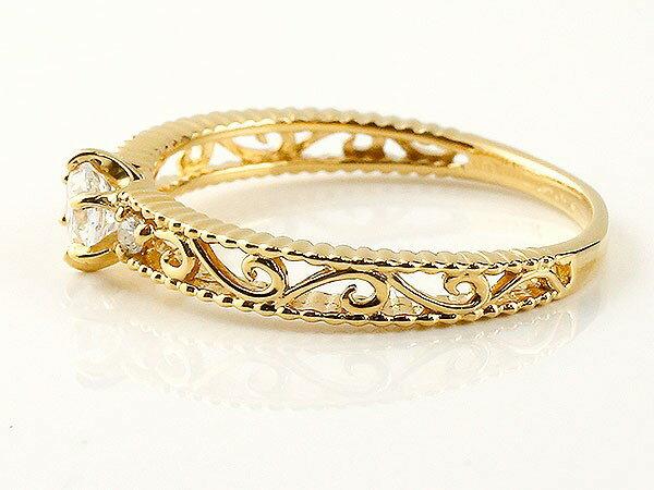 鑑定書付き エンゲージリング VSクラス イエローゴールドk18ダイヤモンド アンティーク 透かし ミル打ち 指輪 一粒 大粒 ダイヤ ダイヤモンドリング k18 18金 ロマンティックな光、クラシカルで上品な存在感