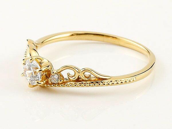 鑑定書付き エンゲージリング SIクラス イエローゴールド ダイヤモンド ティアラ ミル打ち 指輪 一粒 大粒 ダイヤ ダイヤモンドリング k18 18金 ロマンティックな光、華奢でも上品な存在感
