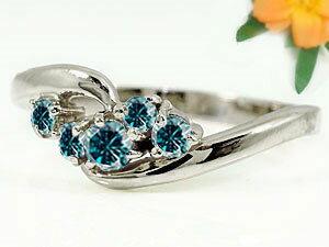 【送料無料】エンゲージリング 指輪 ブルーダイヤモンド リング ピンキーリング ダイヤ ホワイトゴールドK18 18金 ダイヤモンドリング ストレート 贈り物 誕生日プレゼント ギフト エンゲージリング婚約指輪ゴールドダイヤモンドリング手作り人気