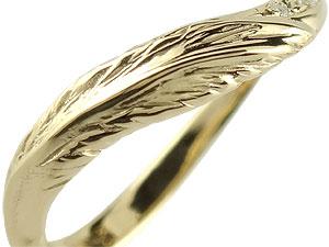 【送料無料】V字 婚約指輪 エンゲージリング ダイヤモンド フェザー イエローゴールドk18 18金 ダイヤモンドリング ウェーブリング ダイヤ 贈り物 誕生日プレゼント ギフト エンゲージリング婚約指輪ゴールドダイヤモンドリング手作り人気