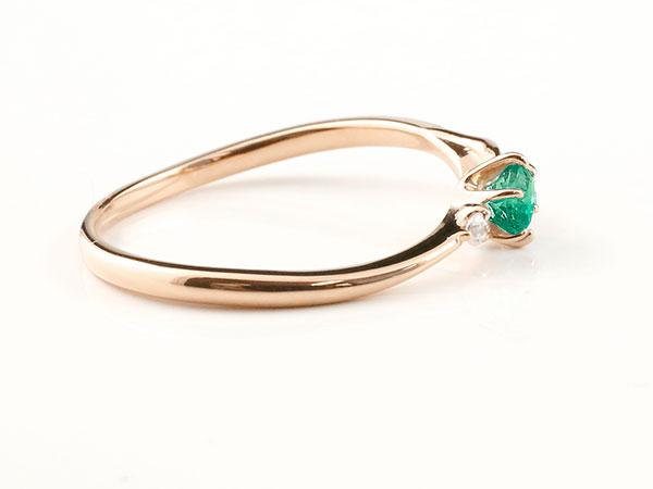 【送料無料】ピンキーリング エンゲージリング イニシャル ネーム T 婚約指輪 エメラルド ダイヤモンド ピンクゴールドk10 指輪 アルファベット 10金 レディース 5月誕生石 人気 貴方だけの宝物を身に着ける喜びを…