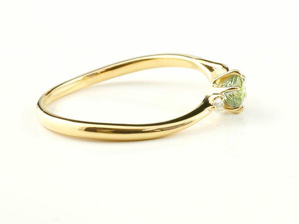 【送料無料】ピンキーリング エンゲージリング イニシャル ネーム T 婚約指輪 ペリドット ダイヤモンド イエローゴールドk10 指輪 アルファベット 10金 レディース 8月誕生石 人気 貴方だけの宝物を身に着ける喜びを…