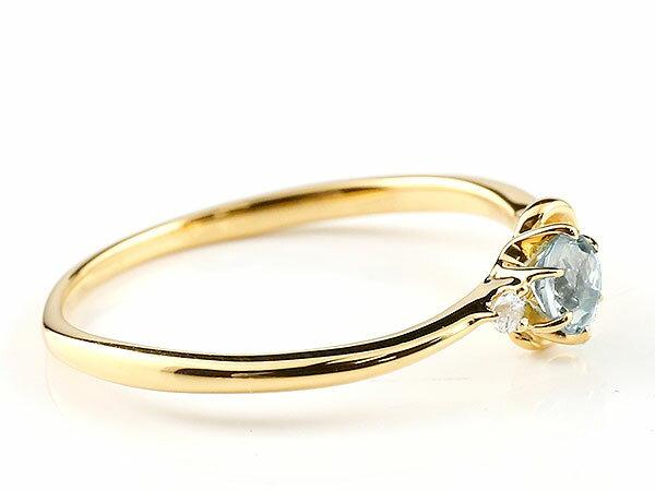 【送料無料】ピンキーリング エンゲージリング イニシャル ネーム Y 婚約指輪 アクアマリン ダイヤモンド イエローゴールドk18 指輪 アルファベット 18金 レディース 3月誕生石 人気 貴方だけの宝物を身に着ける喜びを…
