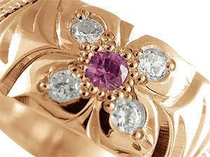 ハワイアン ペアリング 人気 結婚指輪 ピンクトルマリン ダイヤモンド 幅広 ピンクゴールドk10 ホワイトゴールドk10 10金  ダイヤ ストレート プロポーズ 記念日 誕生日 マリッジリング 贈り物 誕生日プレゼント ギフト 永遠に輝き続ける深彫りのハワイアンジュエリー