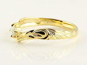 【送料無料】ハワイアンジュエリー ホワイトゴールド イエローゴールドk10 ペアリング ダイヤモンド 結婚指輪 マリッジリング ハワイアンリング V字 k10 カップル 贈り物 誕生日プレゼント ギフト 永遠に輝き続ける深彫りのハワイアンジュエリー