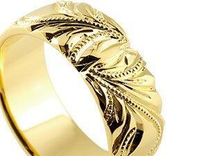 ハワイアンジュエリー ペアリング 結婚指輪  マリッジリング 幅広 指輪 地金リング イエローゴールドk18 ホワイトゴールドk18 18金 ミル打ち ストレート 贈り物 誕生日プレゼント ギフト 超目玉 結婚指輪 ハワイアン 手彫り マリッジリング
