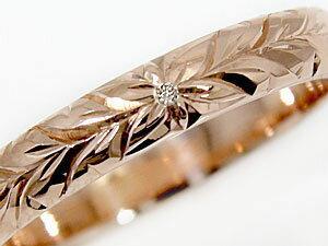 【送料無料】結婚指輪 ハワイアン ペアリング ブルーダイヤモンドダイヤモンド イエローゴールドk10 ピンクゴールドk10 2本セット 10金 ダイヤ ストレート カップル 贈り物 誕生日プレゼント ギフト 永遠に輝き続ける深彫りのハワイアンジュエリー