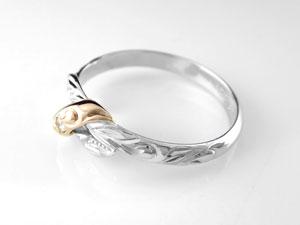 【送料無料】ハワイアンジュエリー リング 一粒 ピンキーリング 指輪 プラチナ ピンクゴールドk18 コンビリング ハワイアンリング 18金 pt900 k18pg ストレート2.3 贈り物 誕生日プレゼント ギフト ハワイアンジュエリーリング オーダー 手彫り 人気 結婚