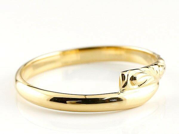 【送料無料】ハワイアンジュエリー イエローゴールドk10リング 指輪 ハワイアンリング スパイラル 地金 k10 レディース 贈り物 誕生日プレゼント ギフト ハワイアンジュエリーリング オーダー 手彫り 人気 結婚