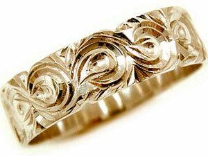 【送料無料】ハワイアンジュエリー ハワイアンリング 指輪 ピンクゴールドK18 幅広指輪 ハワイアンジュエリー 地金リング 18金 k18pg ストレート 贈り物 誕生日プレゼント ギフト ハワイアンジュエリーリング オーダー 手彫り 人気 結婚