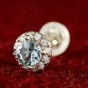 ピアス メンズ プラチナ 片耳ピアス プラチナ アクアマリン ダイヤモンド 大粒 取り巻き スタッドピアス 3月誕生石ダイヤ 男性用 宝石 送料無料