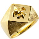 ショッピングピンキーリング メンズ 印台リング 幅広 指輪 ユリの紋章 ピンキーリング イエローゴールドk18 18金ストレート 男性用 フルール・ド・リス 送料無料