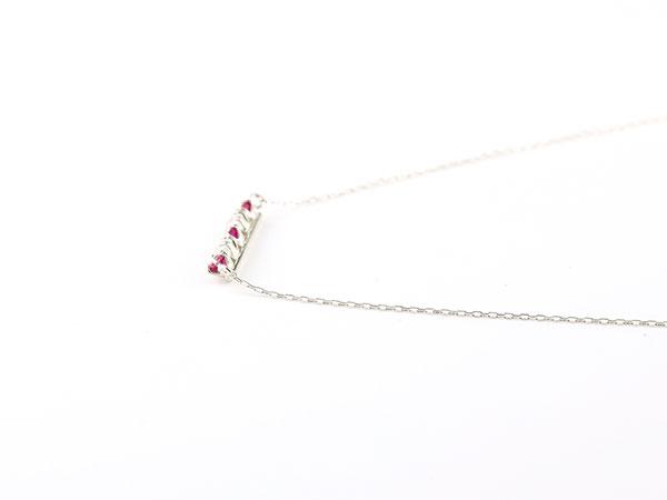 【送料無料】ダイヤモンド ルビー ネックレス 7月誕生石 ダイヤ ラインネックレス ホワイトゴールドk18 ペンダント レディース 18金 チェーン 人気 デコルテに華やかに輝く ラインネックレス