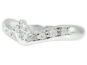 【送料無料】鑑定書付き V字 ペアリング 結婚指輪 マリッジリング プラチナ 一粒ダイヤモンド SIクラス 結婚式 ウェーブリング ダイヤ カップル 贈り物 誕生日プレゼント ギフト 結婚指輪 プラチナ 指輪 リング マリッジ リング 結婚