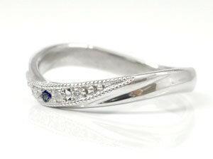 結婚指輪 ペアリング ダイヤモンド サファイア ホワイトゴールドk10 ミル打ち ミル 10金 ダイヤ ストレート カップル 贈り物 誕生日プレゼント ギフト 価格が安いk10 人気のレディース 手作り 天然宝石 工房直販