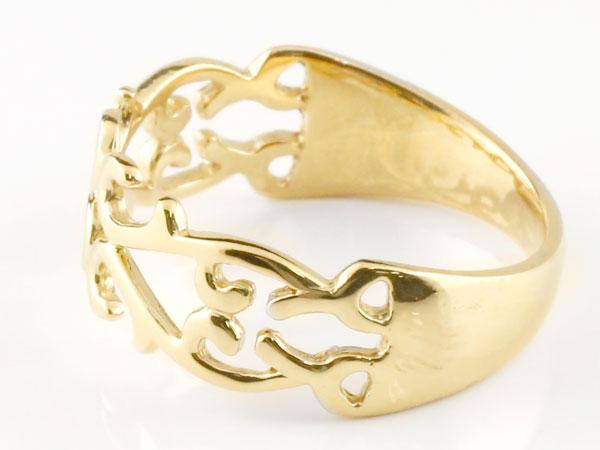 【送料無料】ペアリング 指輪 イエローゴールドk18 ダイヤモンド 透かし アラベスク ストレート ダイヤ  18金 アンティークな風合いのペアリング
