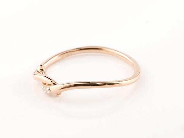 【送料無料】結婚指輪 マリッジリング ペアリング ピンクゴールドk10 ダイヤモンド スイートペアリィー 結び リング 10金 華奢 ストレート まるで着けていない様な着け心地 極細ペアリング