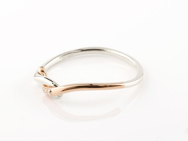 【送料無料】結婚指輪 マリッジリング ペアリング プラチナ ピンクゴールドk10 ダイヤモンド スイートペアリィー 結び リング pt900 10金 華奢 ストレート 地金リング コンビ まるで着けていない様な着け心地 極細ペアリング